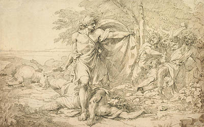 Drawing - Classical Subject - Possibly The Aftermath Of A Battle by John Hamilton Mortimer