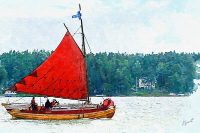 Digital Art - Classical Wooden Boat Tacksamheten by Kai Saarto
