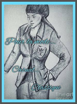 Drawing - Classique Casual Trouser Suit 2 by Joan-Violet Stretch
