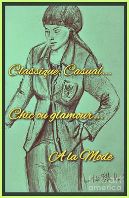 Drawing - Classique Casual Trouser Suit by Joan-Violet Stretch