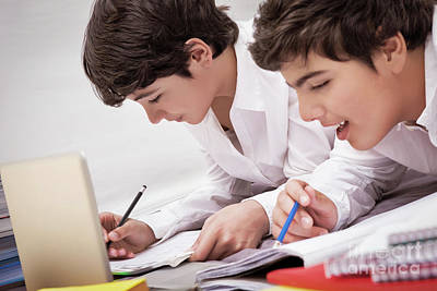 Photograph - Classmates Doing Homework by Anna Om