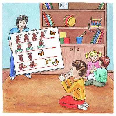Painting - Classroom Children Book Illustration by Irina Sztukowski
