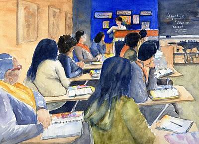 Painting - Classroom Teacher And Her Students by CarlinArt Watercolor