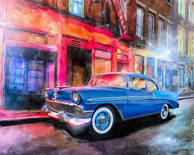 Mixed Media - Classic Nights - 56 Chevy by Mark Tisdale