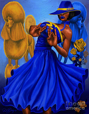 College Girls Wall Art - Digital Art - Classy Blue And Gold by The Art of DionJa'Y