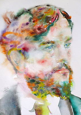 Painting - Claude Debussy - Watercolor Portrait by Fabrizio Cassetta