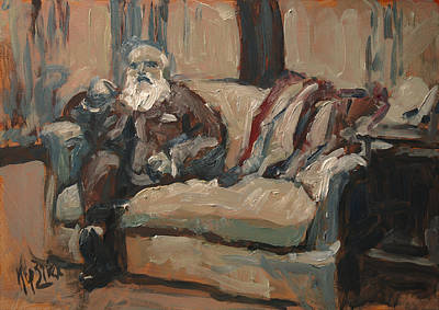 Impressionist Painting - Claude Monet In His Studio Couch by Nop Briex