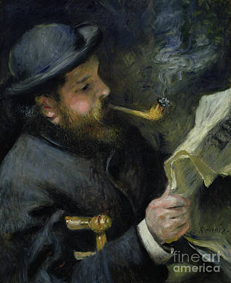 Claude Monet Reading A Newspaper Print by Pierre Auguste Renoir