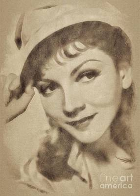 Musicians Drawings - Claudette Colbert, Vintage Actress by John Springfield by John Springfield