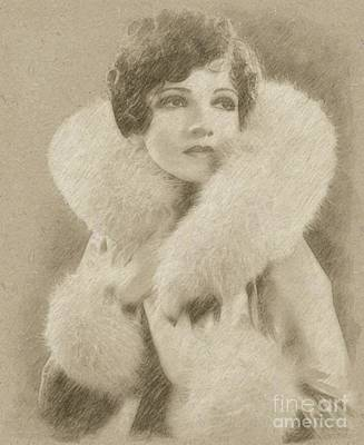 Fantasy Drawings - Claudette Colbert Vintage Hollywood Actress by Frank Falcon