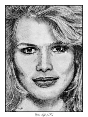 Runway Fashion Art Drawing - Claudia Schiffer In 1992 by J McCombie