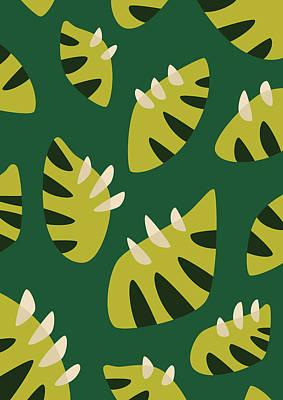 Digital Art - Clawed Abstract Green Leaf Pattern by Boriana Giormova