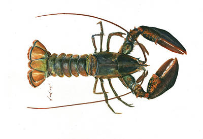 Lobster Claw Painting - Clawed Lobster Art by Juan Bosco