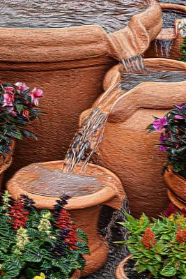 Photograph - Clay Pot Fountain by Sheri McLeroy
