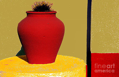 Clay Pot In Red Art Print by Linda  Parker