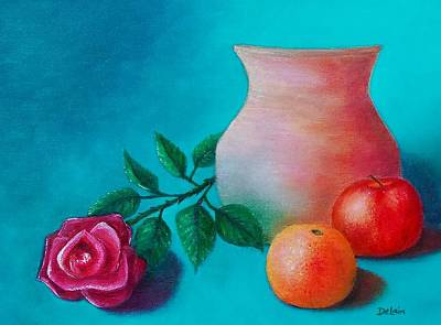 Art Print featuring the painting Clay Pot Still Life by Susan DeLain
