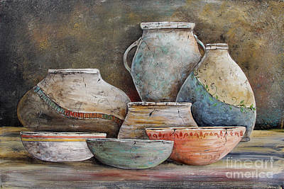 Print featuring the painting Clay Pottery Still Lifes-a by Jean Plout