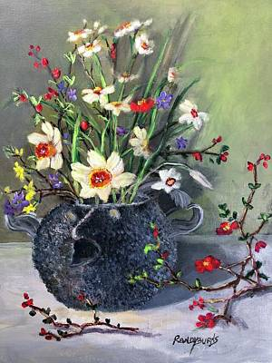 Painting - Clay Pufferfish Teapot With Spring Flowers by Randy Burns
