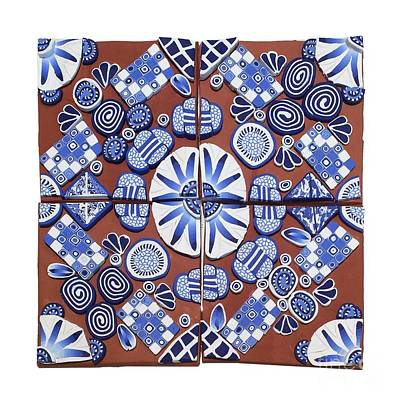 Polymer Clay Mixed Media - Clay Tile Blue 03 by Pat Brown