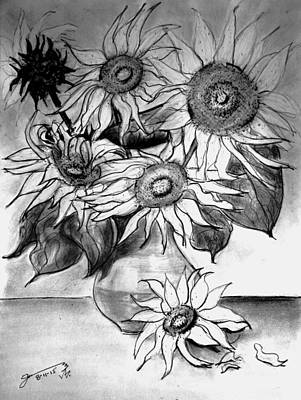 Clay Drawing - Clay Vase With Six Sunflowers by Jose A Gonzalez Jr