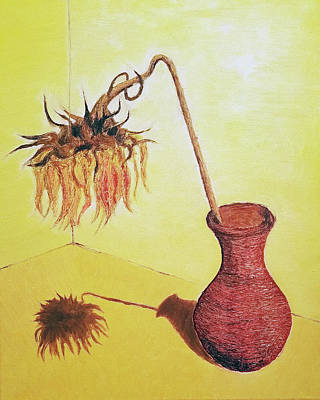 Clay Drawing - Clay Vase With Wilted Sunflower by Jose A Gonzalez Jr