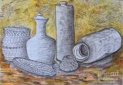 Still Life Drawings - Clay Vases and Baskets by Caroline Street
