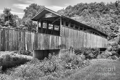 Photograph - Claycomb Bridge In The Forest Black And White by Adam Jewell