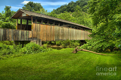 Photograph - Claycomb Covere Bridge In A Sea Of Green by Adam Jewell