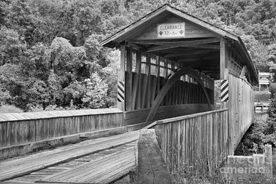 Photograph - Claycomb Covered Bridge Black And White by Adam Jewell