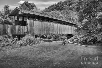 Photograph - Claycomb Covered Bridge In A Sea Of Green Black And White by Adam Jewell