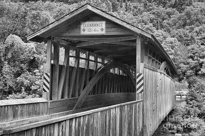 Photograph - Claycomb Covered Bridge Landscape Black And White by Adam Jewell