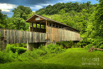 Photograph - Claycomb Covered Bridge Summer Scene by Adam Jewell