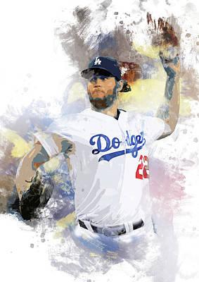 Los Angeles Dodgers Digital Art - Clayton Kershaw, Los Angeles Dodgers by Afrio Adistira