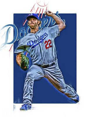 Baseball Glove Mixed Media - Clayton Kershaw Los Angeles Dodgers Oil Art by Joe Hamilton