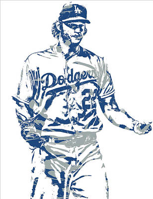 Los Angeles Mixed Media - Clayton Kershaw Los Angeles Dodgers Pixel Art 10 by Joe Hamilton