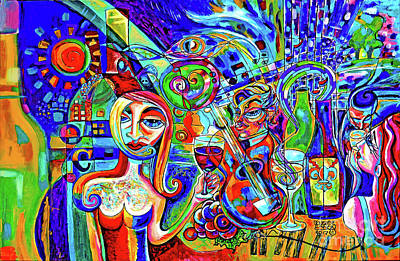 City At Night Music And Wine Abstract Original by Genevieve Esson
