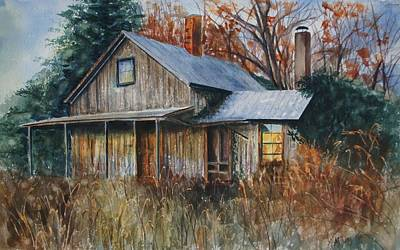 Abandoned House Drawing - Clayton's Place by Mary Jo Jung
