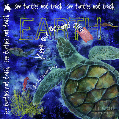 Digital Art - Clean Oceans Sea Turtle Art by Nola Lee Kelsey