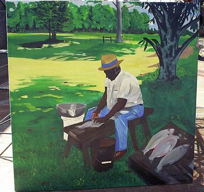Painting - Cleanin' Buffalos by Otis L Stanley