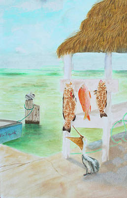 Painting - Cleaning Fish At The Dock by Ken Figurski