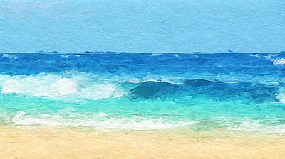 Mixed Media - Clear Blue Waves by Anthony Fishburne