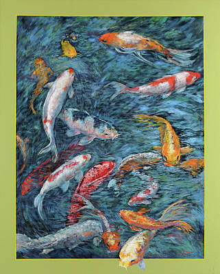 Clear Creek Koi With Painted On Mat Art Print