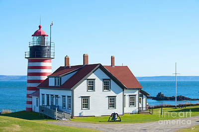 Clear Day At West Quoddy Head Lighthouse Art Print by Alana Ranney