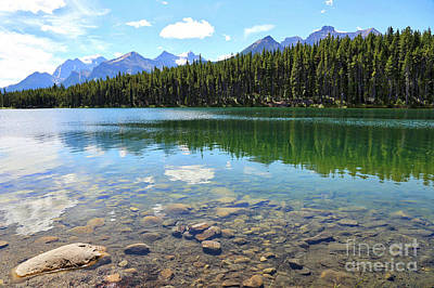 Clear Hector Lake With Mountain Range Art Print