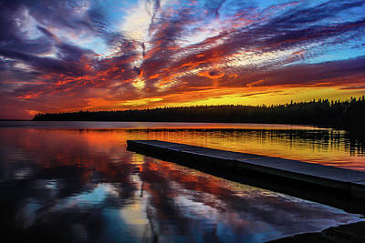 Photograph - Clear Lake At Sunset. Riding Mountain National Park, Manitoba, Canada. by David Butler
