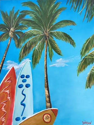 Painting - Clear Sky Let's Surf by Lloyd Dobson