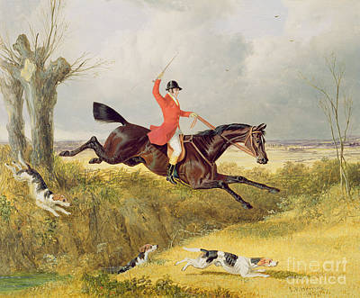 Beagle Painting - Clearing A Ditch by John Frederick Herring Snr