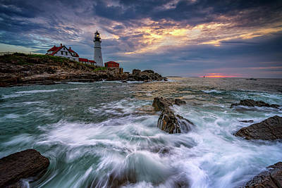 Photograph - Clearing Storm At Portland Head by Rick Berk