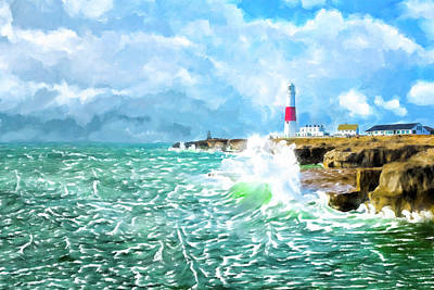 Mixed Media - Clearing Storm - Portland Bill Lighthouse by Mark Tisdale
