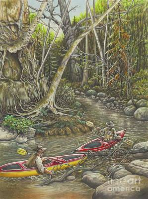 Root Of Mixed Media - Clearing The Creek by Carol Bonick